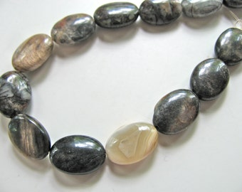 Jasper beads, Silver Leaf Jasper, 13 beads, 10x15mm, earthy colors, Jewelry supply  B-357