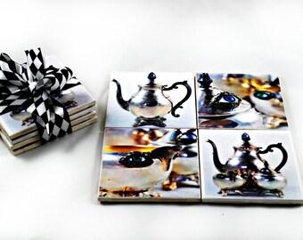 Art Tile Coaster Set - Treacherous Tea - 4 x 4 - Home Decor - Gifts under 25