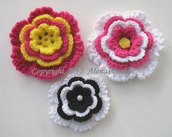 Crochet Pattern 060 - Donna Flower Clip & Hair Clip - Crochet Flower - Large Flower - Flower - Hair - Girls - Ladies - Women - Clip - Gift