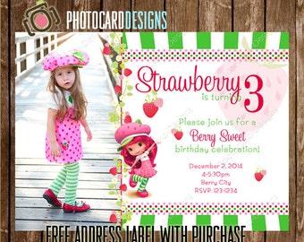 Strawberry Birthday Invitation, Photo Invitation, Halloween, Strawberry, Party, Picture, Shortcake, Digital, Printable, Print file, invite