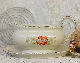 Mitterteich Bavaria antique gravy boat with poppy