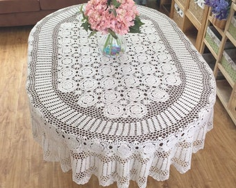 Gorgeous hand crochet tablecloth OVAL, huge size handmade table cover, Vintage style table linen for home decor ~ Nice gift for Mom