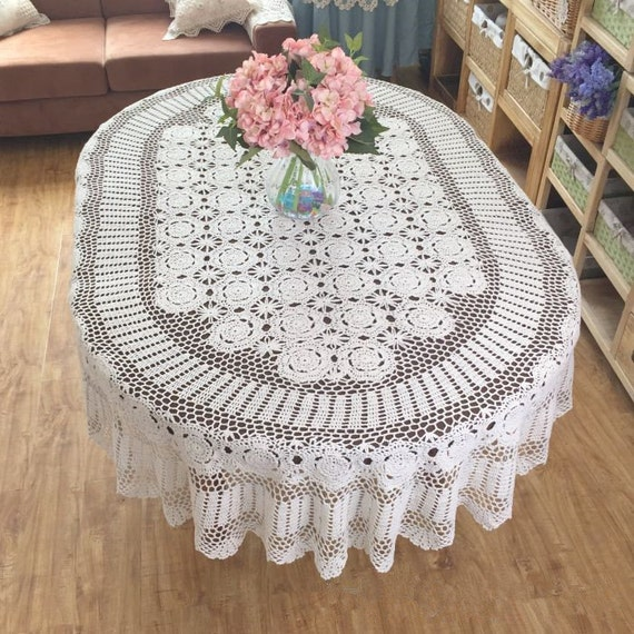 Gorgeous Hand Crochet Tablecloth Oval Huge Size Handmade
