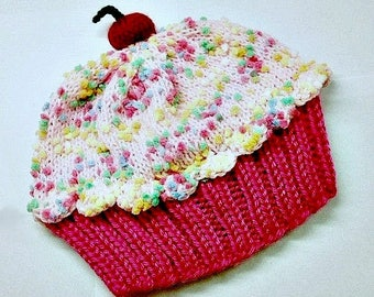 Cupcake Hat preemie newborn toddler sizes Raspberry Watermelon Cake with Pink Cotton Candy Sprinkle Frosting Handmade Hand Knit Adult Child
