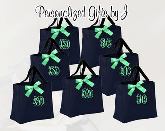 3 Bridesmaid Gift Personalized Tote Bags Monogrammed Tote, Bridesmaids Tote, Personalized Tote, Wedding Totes, Day of Wedding Bag, Wedding