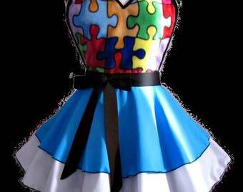 Apron # 4607 - Autism inspired blue and white retro apron