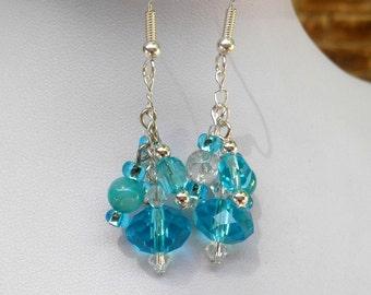 Aqua blue Swarovski crystal dangle pierced earrings