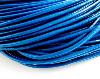 4 m leather cord 2mm cyan blue