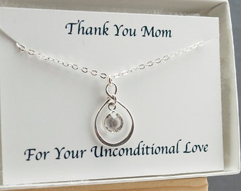 Mothers Day Birthstone Necklace Thank You MOM card set Infinity Necklace Mom Necklace Sterling Silver Infinity Pendant Birthday Gift for Her