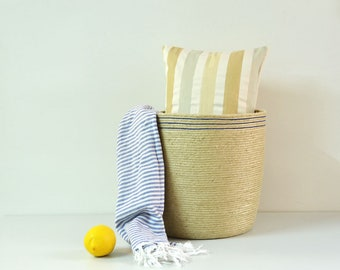 Living room basket, Jute basket perfect as an entryway basket, Blue and tan rope, Nautical decor, Beach house basket, Towel basket