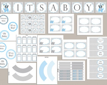 Boy Baby Shower Party Pack Baby Shower Party Package Printable Elephant Baby Shower Package Baby Boy Shower (49d)