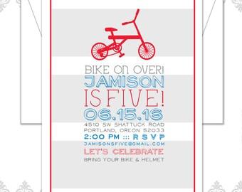 Bike Birthday Invite, Bicycle theme party, retro bike party invite, Modern Bike theme Birthday Invitation, Red 2 wheel bike party