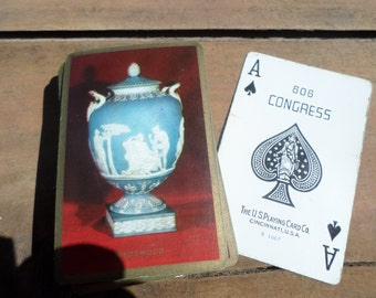 vintage deck of Playing Cards ANTIQUE WEDGWOOD POTTERY