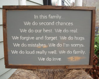 In this family we do sign / House rules sign / Custom family sign / Family name sign / Family / Love / Rustic sign