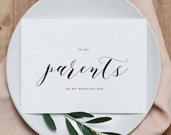 Hochzeitskarte zu meinen Eltern, meinen Eltern an meinem Hochzeitstag, danke Hochzeitskarte, um meine Mama und Papa auf meiner Hochzeit Tageskarte, 1 Karte, K10