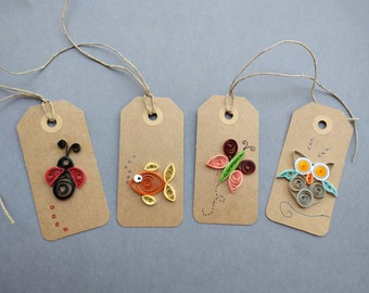 Quilling Tags, Paper Gift Tags, Quilling Gift Tags, Gift Tags, Paper Quilled Tags, Animal Quilling Tags