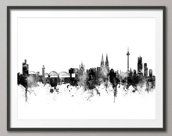 Cologne Skyline, Koln Germany Cityscape Art Print (2812)