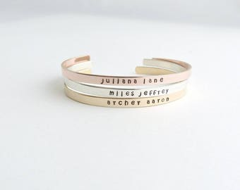 Mother's Day Personalized Bracelet, Thin Gold Cuff, Personalized Gift , Name Jewelry,Stacking Bangle, Inspirational Bangle, Mothers jewelry,