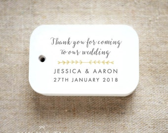 Romantic Modern Wedding Thank you for coming to our wedding Personalized Gift Tags Favor Tags Thank you tags - Set of 24 (Item code: J625)