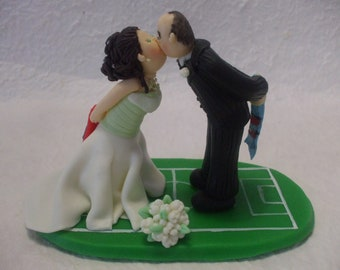 customized bride and groom fans soccer wedding cake topper