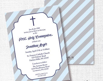 Boy First Communion Invitation, Printable, Baptism Invite, Confirmation, Christening, Religious, Naming Ceremony, Blue, Navy, Simple, Cross