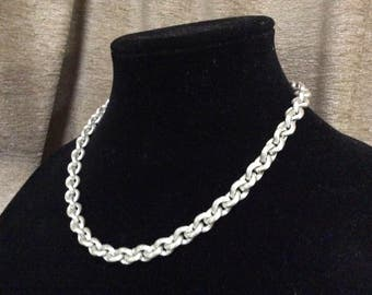 Monet necklace silver tone chunky chain brushed etched