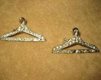 Rhinestone Coathanger Pins Brooch Pair 60s Vintage