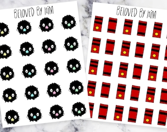 Spirited Away - Soot Sprites and Bath Tokens - Hand drawn Planner Stickers