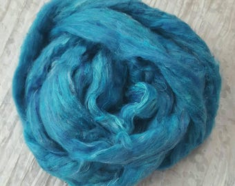 Pale Blue & Multicolour Flecked Recycled Sari Silk Fibre 'Sky' 25 grams Soft, Luxurious Carded Silk Sliver/Roving; for Spinning, Felting etc