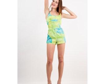 Vintage Tina Leser for Gabar swimsuit / Psychedelic butterfly print romper / Deadstock XS S