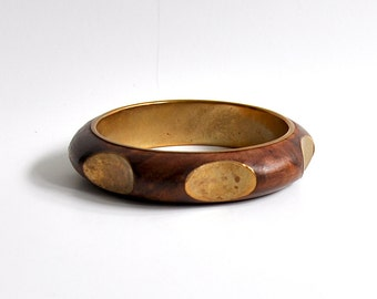 Vintage Bangle Bracelet made of Wood and Brass