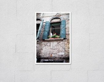 Italy Photo, Teal Green Wood Shutter Window Ledge Pink Geranium Flower Planter on Old Brick Building, Fine Art Archival European Style Print