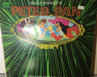 Vintage Disney's Peter Pan record with storybook inside cover