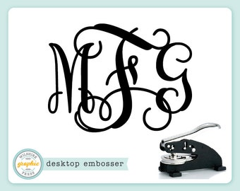 Embosser - INTERLOCKING MONOGRAM Style - Desk Model - Personalized Embossing Stamp Seal - Bridal Wedding Housewarming Gift