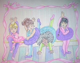 Little Ballerinas Ballet Theme -  Childrens Art Print - 8.5 x 11