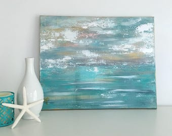 Original Abstract Coastal Painting on an 16x20x1 Gallery Wrapped canvas.