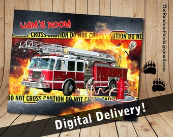 Personalize Kids Poster, Fire Truck Party Poster, Fireman Wall Art