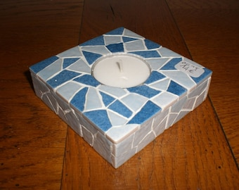 The square blue mosaic candle holder