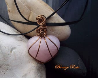Handmade wire wrapped rose quartz heart necklace