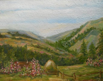 Chalet Mountain Rural Summer Landscape Oil Painting Green Fields Cloud and Sky Hills Nature Highland Farmland Countryside Rich pastel Brush