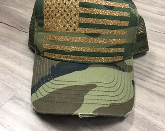 American Flag Glitter Trucker Distressed Camo Trucker Hat Fourth Of July Hat Memorial Day Hat Patriotic American Flag