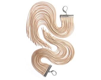 Beige Long Fringe Earrings.Almond Large Statement Earrings.Blond Very Long Dangle.Nude Very Long Shoulder Duster.Tan Chandelier.Cream.Camel