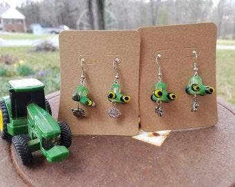Green tractor earrings