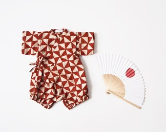 Baby Kimono, Jinbei, Romper for babies, SANKAKU CARMIN bébé, hand block printed fabric from India, made in France