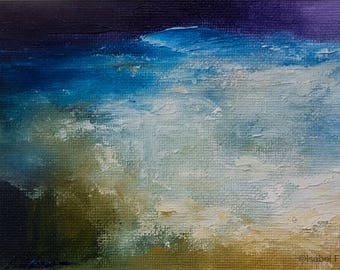 Original Abstract oil painting, SEA AT NIGHT, sea, ocean, waves, texture, atmospheric, modern art, 6x4 inches matted