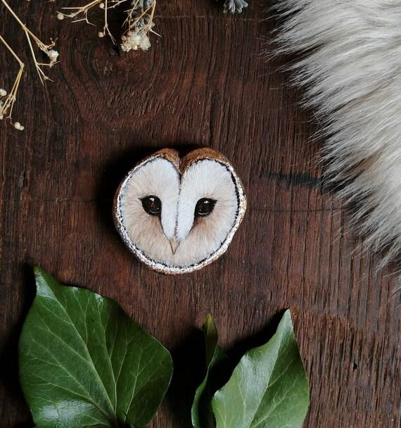 Owl Head, Animal spirit, original art, wood painting, wooden slice, gift idea