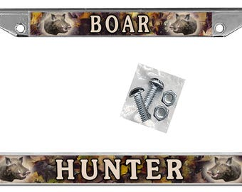Wild Boar Hog Camouflage Leaves Auto License Plate Frame Personalize Gifts Men Ladies Auto Car Accessories Hunting