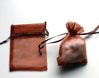 Bag or purse organdy chocolate brown organza 8cm / 10cm