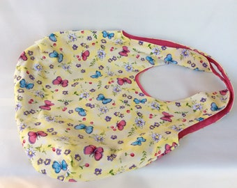 Butterfly Tote Bag With Pink Lining