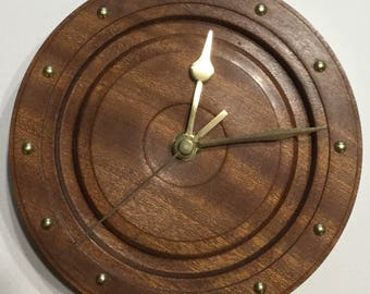 Wooden wall clock  African Sapele 170mm in diameter.